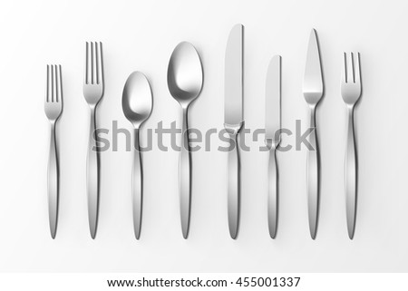 Vector Cutlery Set of Silver Forks Spoons and Knifes Top View Isolated on White Background.  sc 1 st  Vecteezy & Cutlery Vector Set | Free Vector Art from Vecteezy!