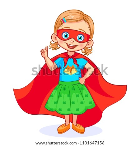 Vector cutout girl in Super hero costume making attention gesture. Beautiful super girl with a mask on her face and developing in the wind red cloak, in full-length.