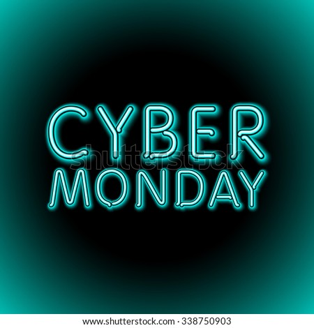 Vector cyber monday sale background. Vector illustration of embossed letters on blue blurred background. text. art