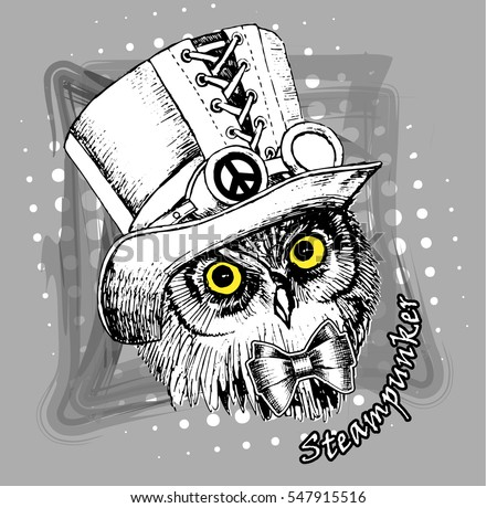 vector cyber owl in a hat