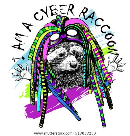 vector cyber raccoon in a hat