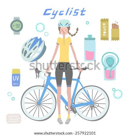 Vector Cyclist Girl Illustration set