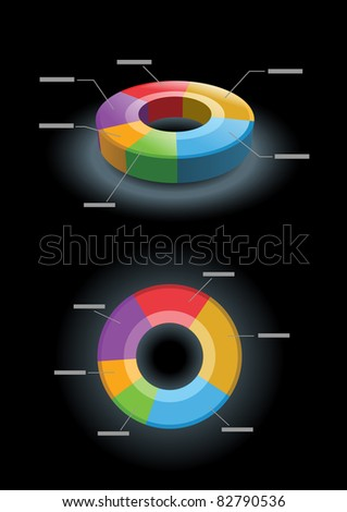 Vector 3d and 2d pie chart. All elements are layered separately in vector file.