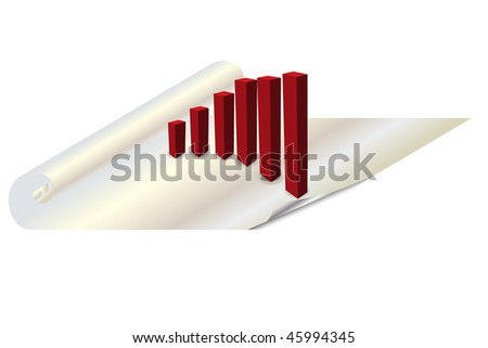 Vector - 3d bar chart or graph standing on a rolled up paper