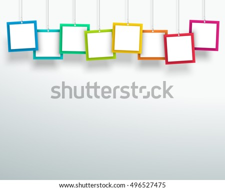 Vector 3d Blank Colourful Square Frames Hanging Design A