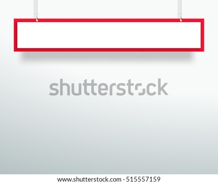 Vector 3d Blank Red 1 Line Title Banner Hanging Design