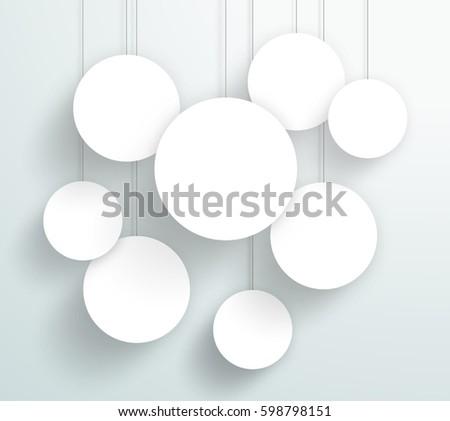Vector 3d Blank White Circle Frames Hanging Design