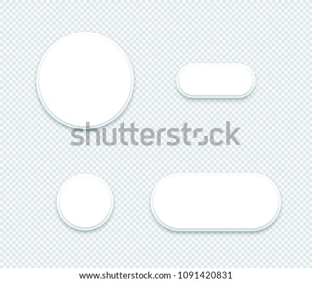 Vector 3d Blank White Paper Layered Circle Shapes Set #1091420831