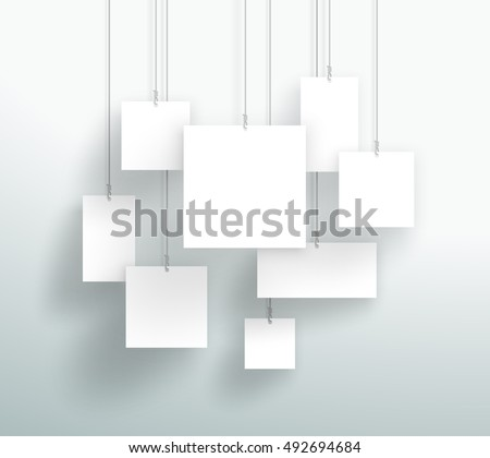 Vector 3d Blank White Square Boxes Hanging Design