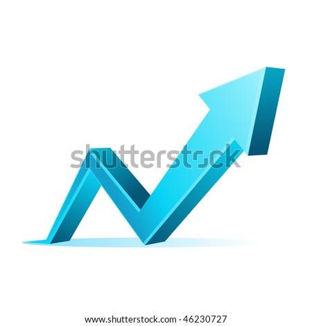 Vector 3d blue arrow graph - stock vector
