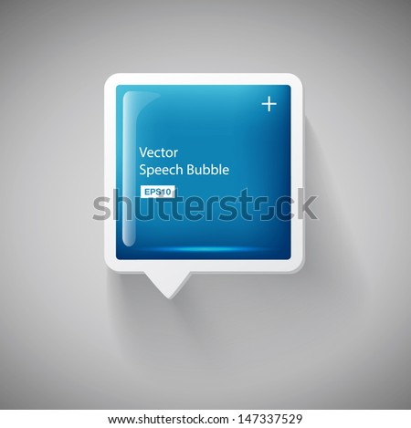 Vector 3d blue square plastic glossy speech bubble