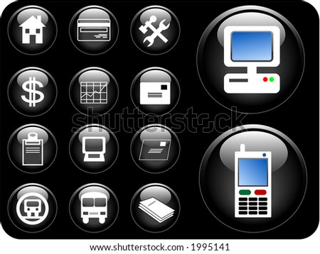 Vector 3D buttons of communication, transportation, property and finance.