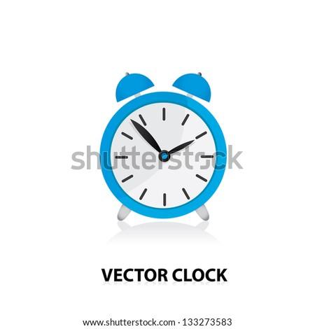 vector 3d clock Icon. blue alarm clock.