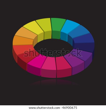 Vector - 3D colorful round wheel showing variety of colors