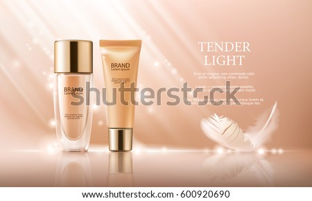 Shutterstock Vector 3D cosmetic illustration for the promotion of foundation premium product. Colorstay make-up in glass bottle and tube on a soft beige background with a feather