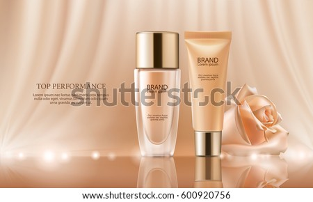 Vector 3D cosmetic illustration for the promotion of foundation premium product. Colorstay make-up in glass bottle and tube on a soft beige background with a rose