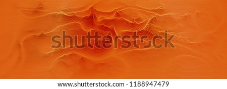 Vector 3d echo audio wavefrom spectrum. Music waves oscillation graph futuristic visualization. Orange line impulse pattern. Or Abstract relief map. Landscape elevation concept