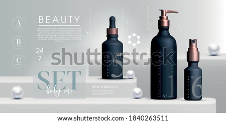 Vector 3D elegant cosmetic products background premium cream jar for skin care products. Luxury facial cream. Cosmetic ads flyer or banner design. Blue cosmetic cream template. Makeup products brand