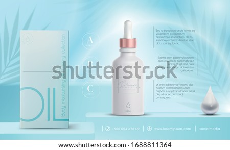 Vector 3D elegant cosmetic products background premium dropper for skin care products. Luxury fashion oil. Cosmetic ads flyer or banner design. Blue cosmetic cream template. Makeup products brand.