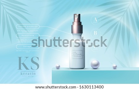 Vector 3D elegant cosmetic products background premium oil spray for skin care products. Luxury facial cream. Cosmetic ads flyer or banner design. Blue cosmetic cream template. Makeup products brand