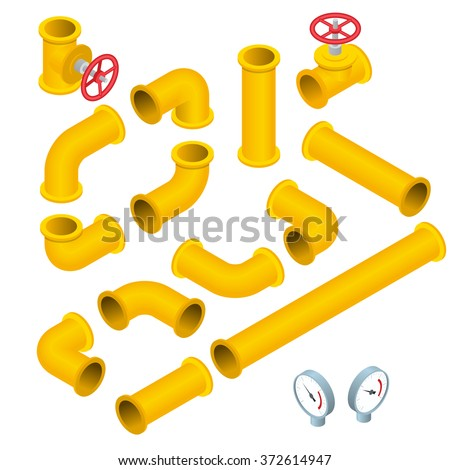Vector 3d flat isometric illustration collection of detailed Construction Pieces: pipes, fittings, gate valve, faucet. Water, plastic, icon, wrench, pipe.