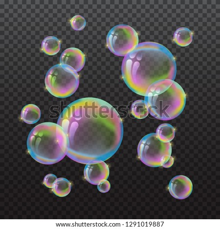 Vector 3d flying rainbow water bubbles isolated on dark transparent background. Volumetric balls of soap, fluid with reflection, soapy balloon. Washing and bathing, bathroom and hygiene