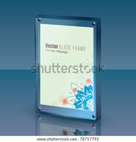 Vector 3D Glass Frame on a Polished Table