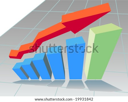 Vector 3D graph of rising trend