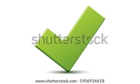 Vector 3d green checklist checkmark icon. Correct check mark answer flag. OK and yes. Foto stock ©
