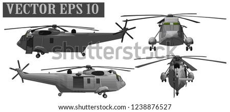 Vector 3D Helicopter Sikorsky For Warrior Soldier
