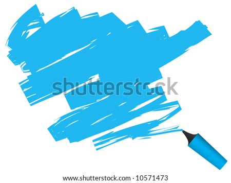 Vector - 3D highlighter pen drawing on paper. - stock vector