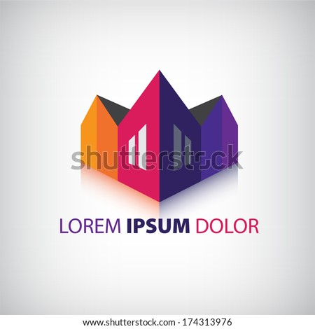 vector 3d houses icon, logo isolated