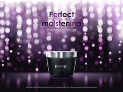 Vector 3D illustration for the promotion of cosmetic moisturizing premium product. Matt black jar with the lid closed on a dark purple background with glowing elements