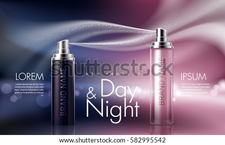 Shutterstock Vector 3D illustration for the promotion of moisturizing and nourishing cosmetic premium product. Matt black and pink bottles with night and day cosmetic on background with glowing elements