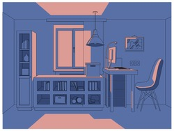 vector 3D illustration / living room in simple colors / interior / anime background style / manga style