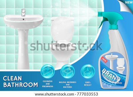 Vector 3d illustration of bathroom cleaner. Plastic spray bottle with detergent design. Liquid cleaning product ad.
