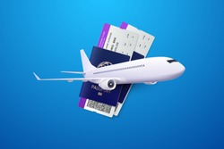 Vector 3d illustration of passports, boarding passes and airplane. Travel concept. Booking service or travel agency sign. Air transportation. Flight tickets. Advertising banner.