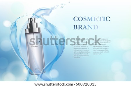 Vector 3D illustration poster with moisturizing cosmetic premium product, light-blue background with beautiful spray bottle and watery texture #600920315