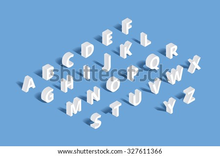 Vector 3d isometric alphabet. Design letter, typography abc set, character geometric typographic sign illustration