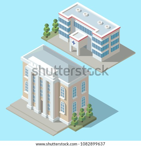 Vector 3d isometric hospital, ambulance building with green trees. Cartoon clinic exterior, town infirmary isolated on blue background. Medic multistorey office.