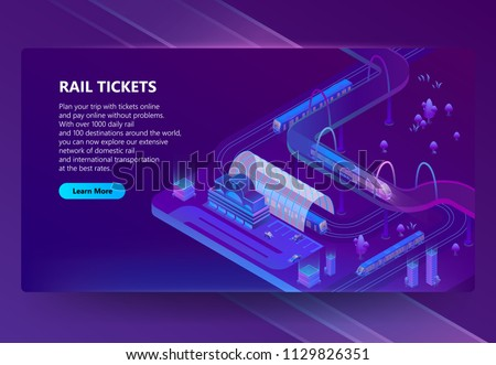 Vector 3d isometric illustration of railway station with trains, city roads with trams in ultra violet colors. Rail tickets online concept banner, web page for site with button and space for text
