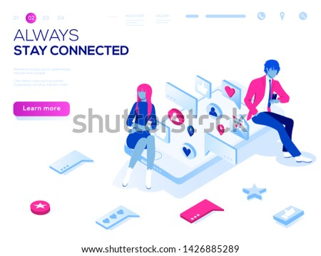 Vector 3d isometric landing page concept. Virtual relationships, online dating and social networking illustration concept. Teenagers chatting on the Internet.  #1426885289