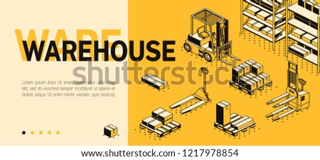 Vector 3d isometric site template with warehouse, forklift and boxes. Landing page in thin line style, internet portal for transport logistics. Yellow background with goods and storage.