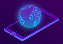 Vector 3d isometric ultraviolet smartphone with world hologram. Puple globe on display of electronic device. Internet connection, social network.