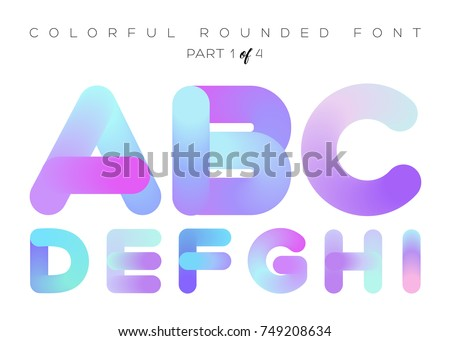 Vector 3D Liquid Paint Letters. Colorful Neon Rounded Font. Multicolor Geometric Shape. Bright Gradient Typography for Music Poster, Presentation, Banner Design. Isolated on White.