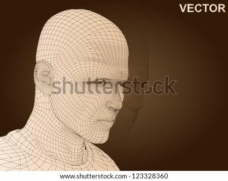 vector 3d man or human head