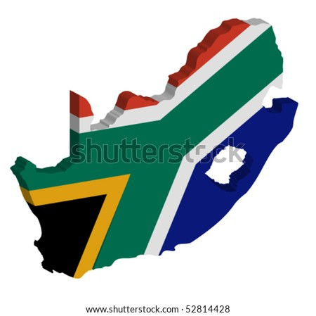 vector 3D map of South Africa