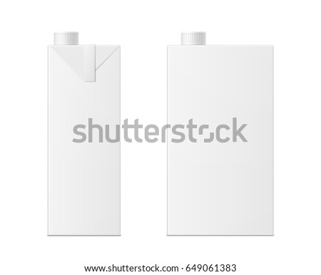 Vector 3d Mock Up Of Milk Or Juice Box On White Background Realistic Carton One