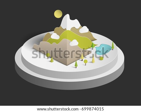 Vector 3D mountain paper art and natural tree Put on white floor
