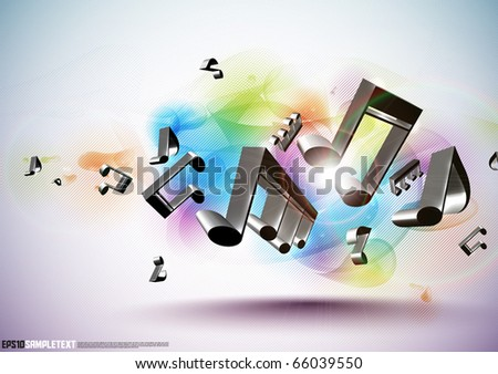 Vector 3D Musical Notes